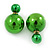 Mirrored Green Acrylic 7-15mm Double Ball Stud Earrings In Silver Tone Metal - view 2