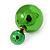 Mirrored Green Acrylic 7-15mm Double Ball Stud Earrings In Silver Tone Metal - view 5