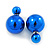 Mirrored Blue Acrylic 7-15mm Double Ball Stud Earrings In Silver Tone Metal