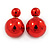 Mirrored Red Acrylic 7-15mm Double Ball Stud Earrings In Silver Tone Metal