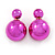 Mirrored Fuchsia Acrylic 7-15mm Double Ball Stud Earrings In Silver Tone Metal