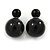 Black Acrylic 7-15mm Double Ball Stud Earrings In Silver Tone Metal