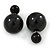 Black Acrylic 7-15mm Double Ball Stud Earrings In Silver Tone Metal - view 2