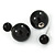 Black Acrylic 7-15mm Double Ball Stud Earrings In Silver Tone Metal - view 3