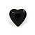 Small Black Acrylic Heart Stud Earrings In Silver Tone - 10mm L - view 7