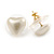 Small Cream Acrylic Heart Stud Earrings In Gold Tone - 10mm L - view 3
