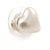 Small Cream Acrylic Heart Stud Earrings In Gold Tone - 10mm L - view 6