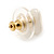 Small Cream Acrylic Heart Stud Earrings In Gold Tone - 10mm L - view 4