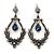 Victorian Style Hematite/ Dark Blue Crystal Drop Earrings In Antique Silver Tone Metal - 55mm L