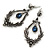 Victorian Style Hematite/ Dark Blue Crystal Drop Earrings In Antique Silver Tone Metal - 55mm L - view 6