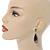 Antique Silver, Hematite Crystal, Black Acrylic Stone Teardrop Earrings - 50mm L - view 2