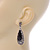 Antique Silver, Hematite Crystal, Black Acrylic Stone Teardrop Earrings - 50mm L - view 5