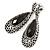 Antique Silver, Hematite Crystal, Black Acrylic Stone Teardrop Earrings - 50mm L