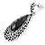 Antique Silver, Hematite Crystal, Black Acrylic Stone Teardrop Earrings - 50mm L - view 3
