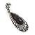 Antique Silver, Hematite Crystal, Black Acrylic Stone Teardrop Earrings - 50mm L - view 7