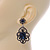 Victorian Style Filigree Montana Blue Glass, Crystal Drop Earrings In Antique Silver Tone - 50mm L - view 6