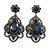 Victorian Style Filigree Montana Blue Glass, Crystal Drop Earrings In Antique Silver Tone - 50mm L - view 7