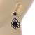 Victorian Style Filigree Black Glass, Crystal Drop Earrings In Antique Silver Tone - 50mm L - view 5