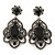 Victorian Style Filigree Black Glass, Crystal Drop Earrings In Antique Silver Tone - 50mm L
