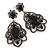 Victorian Style Filigree Black Glass, Crystal Drop Earrings In Antique Silver Tone - 50mm L - view 6