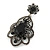 Victorian Style Filigree Black Glass, Crystal Drop Earrings In Antique Silver Tone - 50mm L - view 3