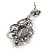 Victorian Style Filigree Black Glass, Crystal Drop Earrings In Antique Silver Tone - 50mm L - view 4