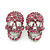Small Dazzling Pink Crystal Skull Stud Earrings In Silver Plating - 20mm L