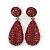 Bridal, Prom, Wedding Pave Ruby Red Austrian Crystal Teardrop Earrings In Rhodium Plating - 48mm L