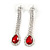 Bridal/ Prom/ Wedding Clear/ Red Crystal Teardrop Earrings In Silver Tone Metal - 40mm L