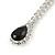 Bridal/ Prom/ Wedding Clear/ Black Crystal Teardrop Earrings In Silver Tone Metal - 40mm L - view 4