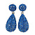 Bridal, Prom, Wedding Pave Sapphire Blue Austrian Crystal Teardrop Earrings In Rhodium Plating - 48mm L