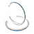 Large Sky Blue Austrian Crystal Hoop Earrings In Rhodium Plating - 6cm D