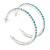 Large Light Blue Austrian Crystal Hoop Earrings In Rhodium Plating - 6cm D