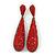 Luxury Ruby Red Swarovski Crystal Teardrop Earrings In Black Tone Metal - 75mm L