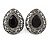Marcasite Black/ Hematite Crystal Teardrop Clip On Earrings In Antique Silver Metal - 27mm