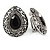 Marcasite Black/ Hematite Crystal Teardrop Clip On Earrings In Antique Silver Metal - 27mm - view 4