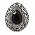 Marcasite Black/ Hematite Crystal Teardrop Clip On Earrings In Antique Silver Metal - 27mm - view 2