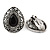 Marcasite Black/ Hematite Crystal Teardrop Clip On Earrings In Antique Silver Metal - 27mm - view 5