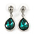 Silver Tone Teardrop Emerald Green Faceted Glass Stone Drop Earrings - 30mm L