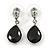 Silver Tone Teardrop Jet Black Faceted Glass Stone Drop Earrings - 30mm L