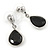 Silver Tone Teardrop Jet Black Faceted Glass Stone Drop Earrings - 30mm L - view 6