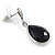 Silver Tone Teardrop Jet Black Faceted Glass Stone Drop Earrings - 30mm L - view 5