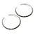 Jet Black Crystal Hoop Earrings In Rhodium Plating - 60mm D - view 9
