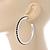 Jet Black Crystal Hoop Earrings In Rhodium Plating - 60mm D - view 3