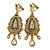 Vintage Inspired Chandelier Clear Crystal Clip On Earrings In Aged Gold Tone - 65mm L - view 1