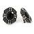 Art Deco Clear/ Black Crystal Geometric Stud Clip On Earrings in Aged Silver Tone - 25mm L - view 3