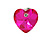 Small Fuchsia Pink Glass Heart Stud Earrings In Silver Tone - 10mm Tall - view 3