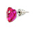 Small Fuchsia Pink Glass Heart Stud Earrings In Silver Tone - 10mm Tall - view 4
