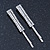 Pair Of Clear Swarovski Crystal Square Hair Slides In Rhodium Plating - 55mm Length