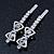Pair Of Clear/ AB Swarovski Crystal 'Bow' Hair Slides In Rhodium Plating - 60mm Length